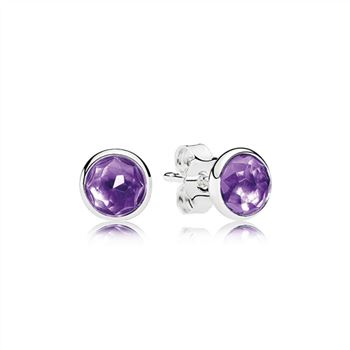 Pandora February Droplets Stud Earrings, Synthetic Amethyst 290738SAM