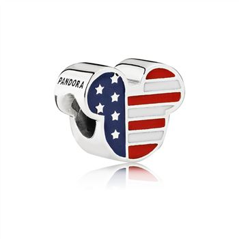 Pandora Disney Mickey USA silver charm with red, white and blue enamel 791585ENMX