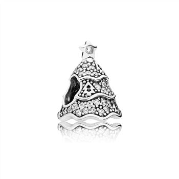 Pandora Twinkling Christmas Tree Charm, Clear CZ 791765cz
