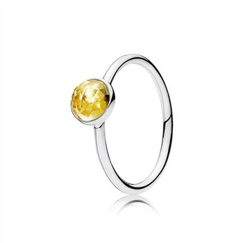 Pandora November Droplet Ring, Citrine 191012CI