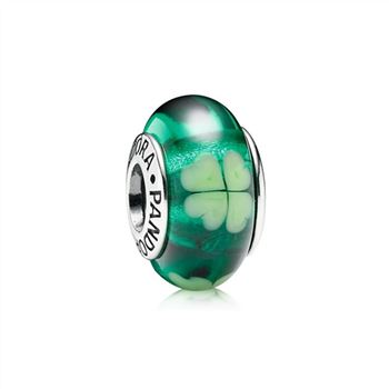 Pandora Kiss Me I'm Irish, Green Clover Murano Glass 790927