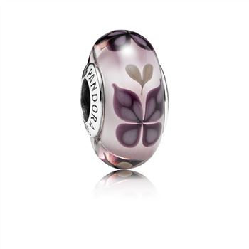 Pandora Pink Butterfly Kisses Charm, Murano Glass 791621