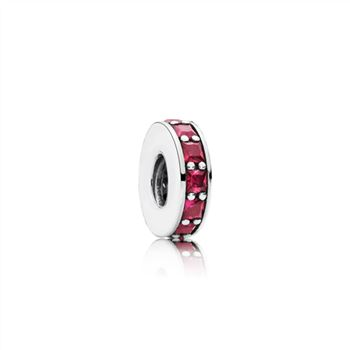 Pandora Abstract silver spacer with synthetic ruby 791724SRU