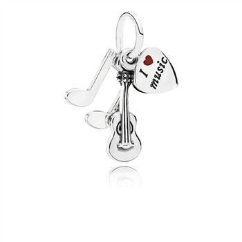 Pandora I Love Music Dangle Charm, Red Enamel 791504EN09