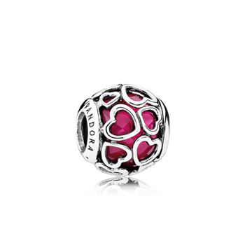 Pandora Cerise Encased in Love Charm, Cerise Crystal 792036NCC