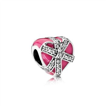 Pandora Gifts of Love, Magenta Enamel & Clear CZ 792047CZ